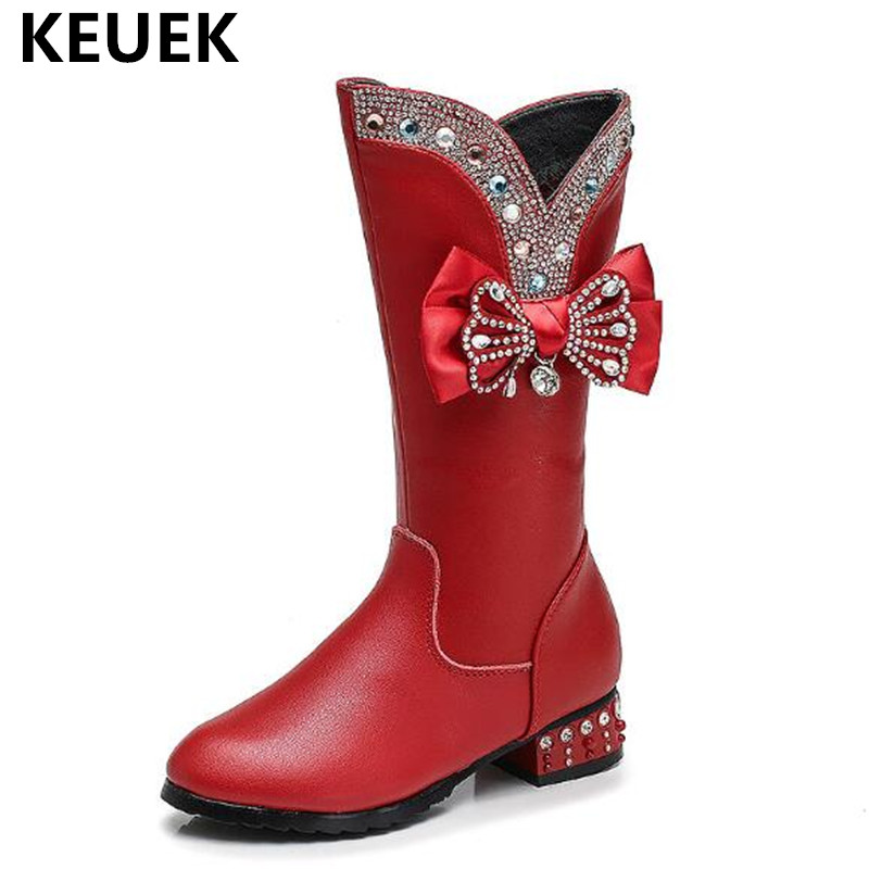 New Winter Genuine Leather Children Shoes 2018 Martin boots Thick Plush Knee-High Girls Snow Boots Kids Party Fashion Boots 04