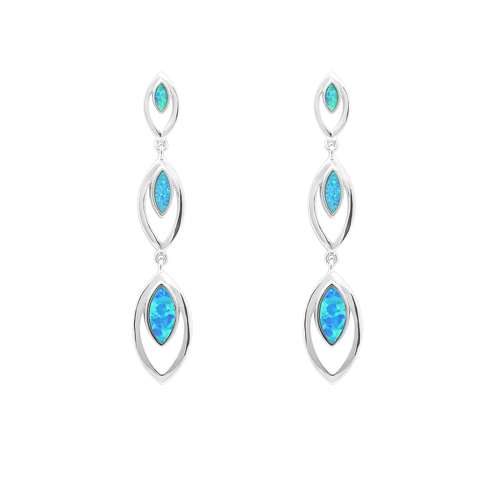 Wedding Earrings White Gold: Luxury White Gold Royal Blue Real Opal Stone Jewelry Stud