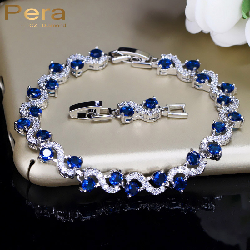 Pera 5 Color Options Fashion Ladies Sterling Silver Cubic Zirconia Royal Blue Stone Bracelets Jewelry For Christmas Gift B017