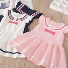 Kids Costume 2018 New Girl Dresses Bow Fly Sleeve Princess Dress Preppy  Style Baby Girl Dresses Belle Children Clothes 027eaf12afac