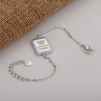 DYINGLUO 925 Sterling Silver Bracelet Rectangle Design Cross Chain Bracelet Birthday Jewelry Trendy Silver Bracelet for Women