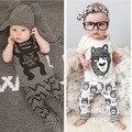 2016 moda bebê prited animais de manga curta verão quente venda de algodão menino e meninas recém-nascido bebes conjunto de roupas