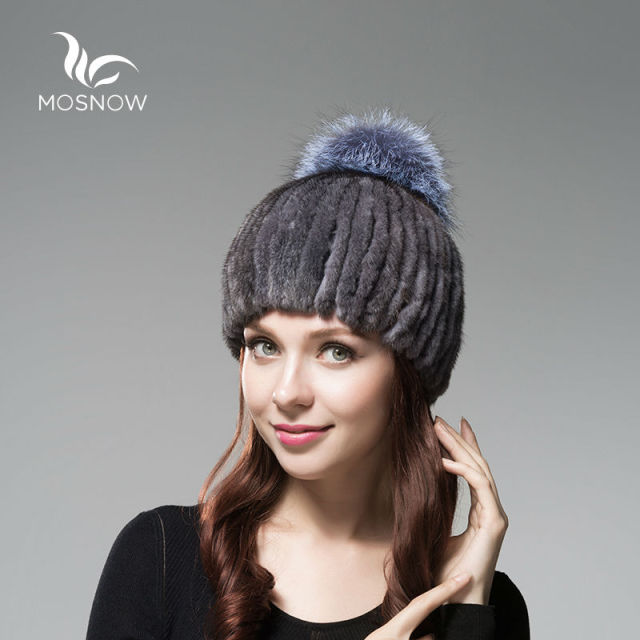 MOSNOW 2016 New Genuine Mink Fur Winter Hats For Women Stripe Thick Warm Silver Fox Pompons Cap Female Winter Tocas Beanie