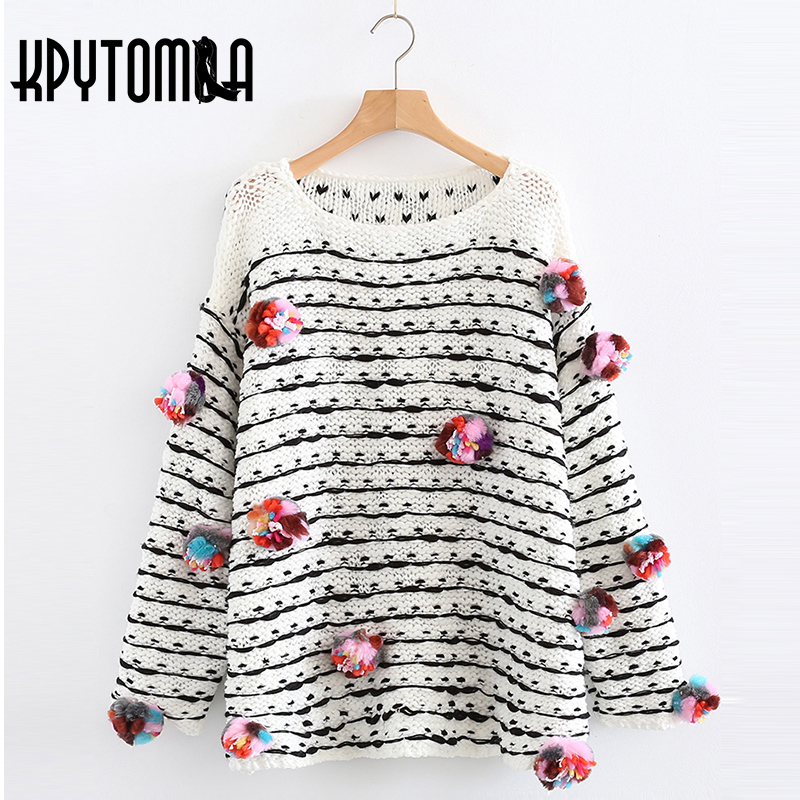 Vintage Chic Coloured Pompoms Detail Sweater Women 2018 New Fashion Autumn Long Sleeve O Neck Loose Pullovers Casual Pull Femme ...