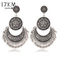 17KM Vintage Silver Color Big Flower Drop Earrings for Women Tassel Peandant  Ethnic Jewelry Punk Beads Earring Jewelry