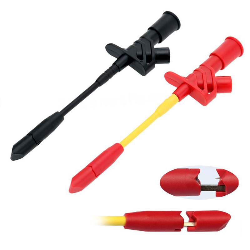 10 A profesional Piercing aguja prueba Clips multímetro prueba sonda gancho con enchufe de 4mm