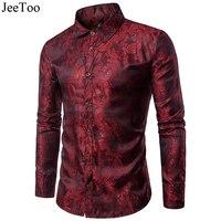 JeeToo Printde Floral Casual Męskie Koszule Z Długim Rękawem Bawełniana Koszula pełna Slim Fit Turn Down Collar Wina Żółty Kolor Mody koszula