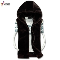2018 Casual Winter Warm Mens Fur Vest Fashion Hooded Sleeveless Coat For Men Faux Fur Vest