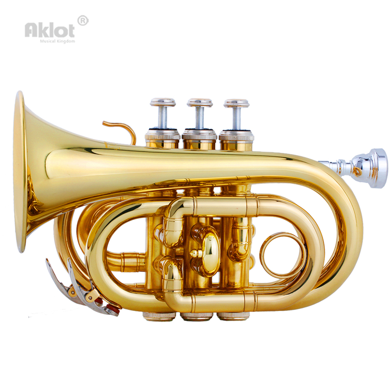 Aklot Bb Mini Pocket Trumpet 7C Silver Plated Mouthpiece Brass Body Gold Silver Blue Lacquered with Case and Tuner trumpet mouthpiece set silver plated 4 sizes convertible 7c 5c 3c 1 1 2c