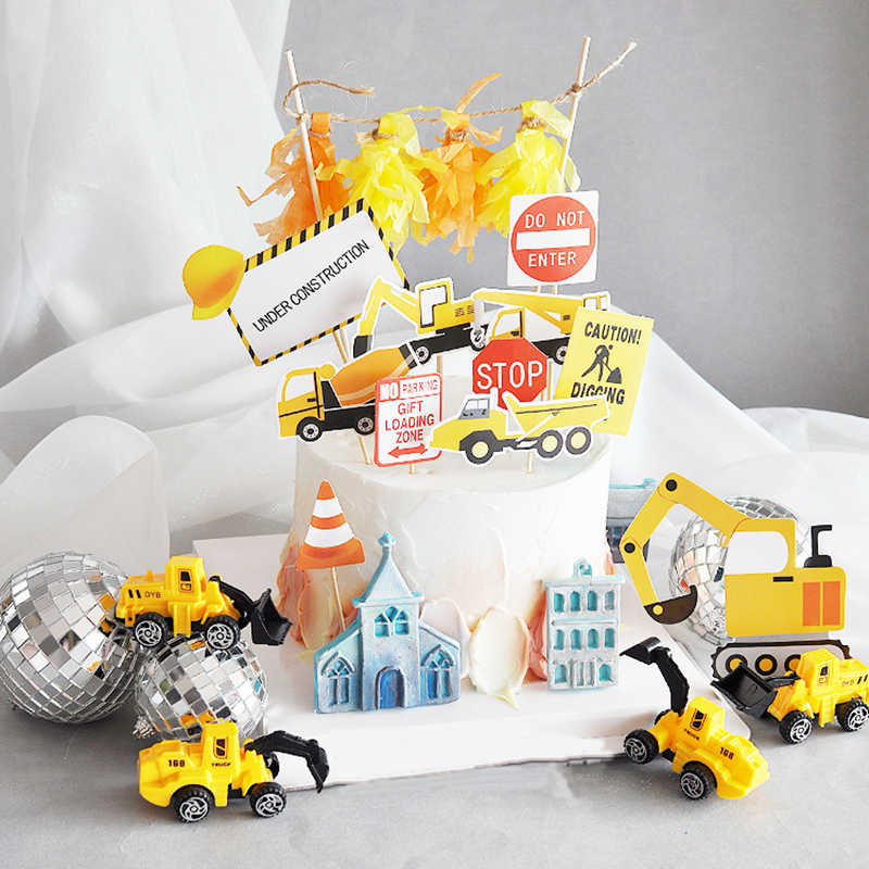 Under Construction Cake Topper Dump Truck Decoration Construction vehicle Car Crane Topper Birthday Centerpieces Excavator Party
