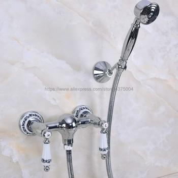 цена Polished Chrome Bathroom Faucet Bath Faucet Mixer Tap Wall Mounted Hand Held Shower Head Kit Shower Faucet Sets Nna287 онлайн в 2017 году