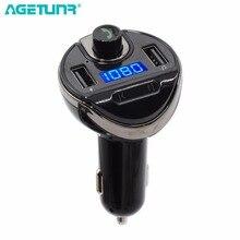 AGETUNR T20 Kit Mãos Livres Bluetooth Carro Transmissor FM Conjunto MP3 Music Player 5 v 3.4A 2 USB Suporte Carregador de Carro disco do USB & TF Cartão