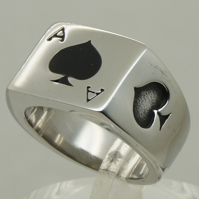 poker spade ace men/boy biker rocky punk 316L stainless steel ring