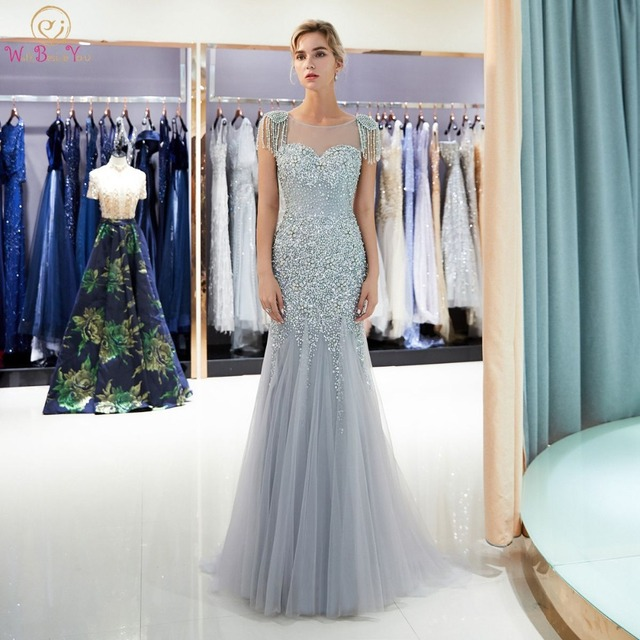 Backless Prom Dresses Walk Beside You Gray Beaded Bodice Tassel Shoulder  Mermaid Zipper Sweep Train Gold Evening Gown vestido 4e69ea880afc