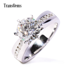 Transgems 2 Ct F/GH Color Lab Grown Moissanite Engagement Rings For Women With 10 Pieces Genuine Loose Diamonds Real Gold