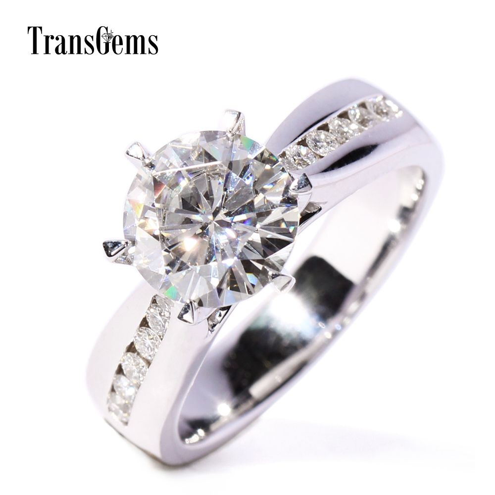 Gh Color Lab Grown Moissanite Engagement Rings For Women  With 10 Pieces Genuine Loose Diamonds Real Gold