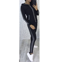 Sequins Tracksuit Women 2018 Autumn Winter Long Sleeve Sweatsuit Womens Hooded Tops and Pants Two Piece Outfit SJ189V