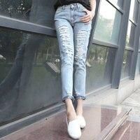 QA1255 Top selling losse casual lente zomer boyfriend gat gescheurde jeans femme nieuwe lage taille lange broek vrouwen