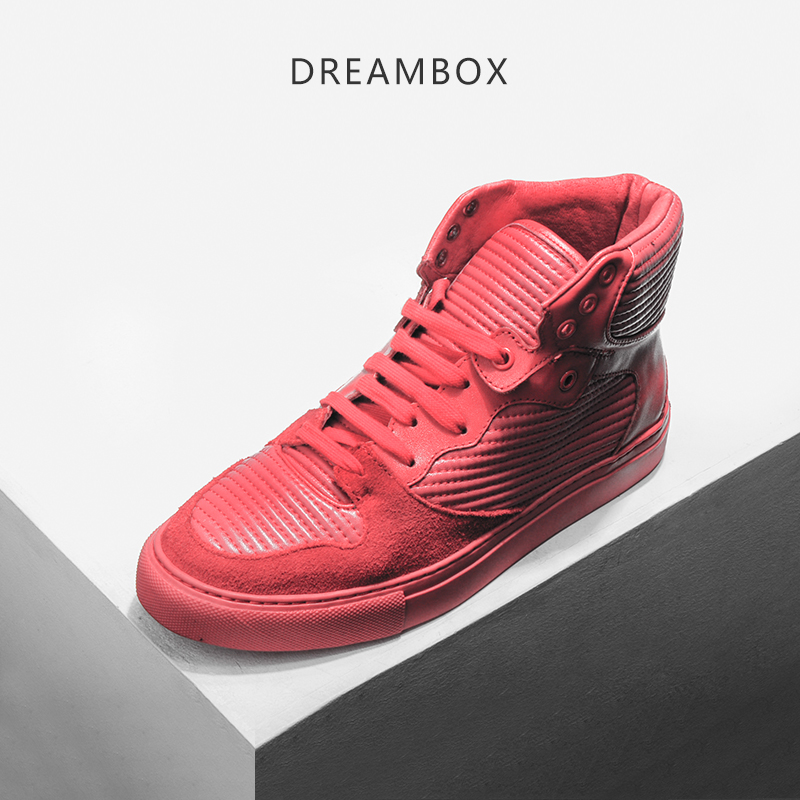 DreamBox Men's shoes are comfortable breathable, European and American red leather daily leisure  wear high resistant  tops dreambox summer leisure trends in europe and america mesh breathable shoes set foot thick soled shoes