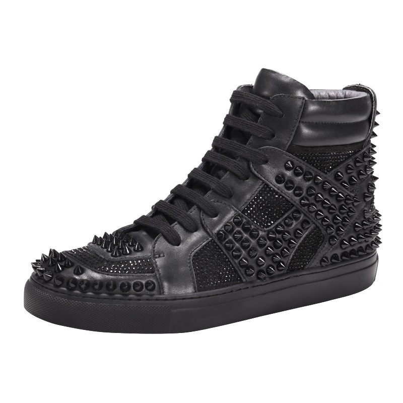 2018 New Personality Rivet High Top Sneakers Men Genuine Leather Breathable Lace Up Rhinestone Casual Flat Hip Hop Shoes Men 2018 spring street flat genuine leather rivet women shoes high quality punk style hip hop round toe buckle high top sneakers