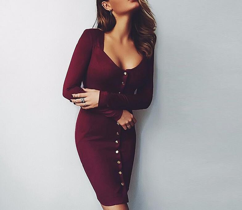 2019 Autumn Dress Knitted Dresses V Neck Knee-Length buttons Long Sleeve Long Dresses Slim Winter Office Dress Robes Vestidos
