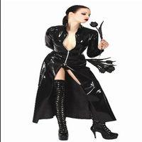 Frauen Sexy Wet Look Jacke Kunstleder Catsuit Spiel Uniformen Clubwear PVC Erotic Gymnastikanzug Kostüme Latex Bandage Body