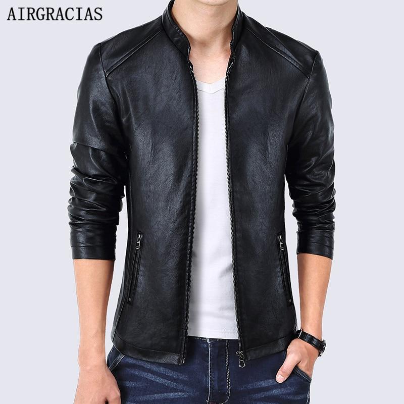 AIRGRACIAS Spring Men Bomber Jacket Men Leather Jackets ...