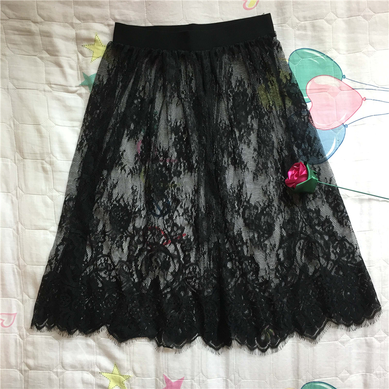 Women <font><b>Sexy</b></font> Lace <font><b>Skirt</b></font> Overskirt Ladies See Through <font><b>Transparent</b></font> Hollow Out High Waist Black White A line Short <font><b>Mini</b></font> <font><b>Skirt</b></font> S6 image