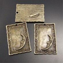 15PCS Antique Style Bronze Look Square Charm Moon Pendants Finding 30*21MM