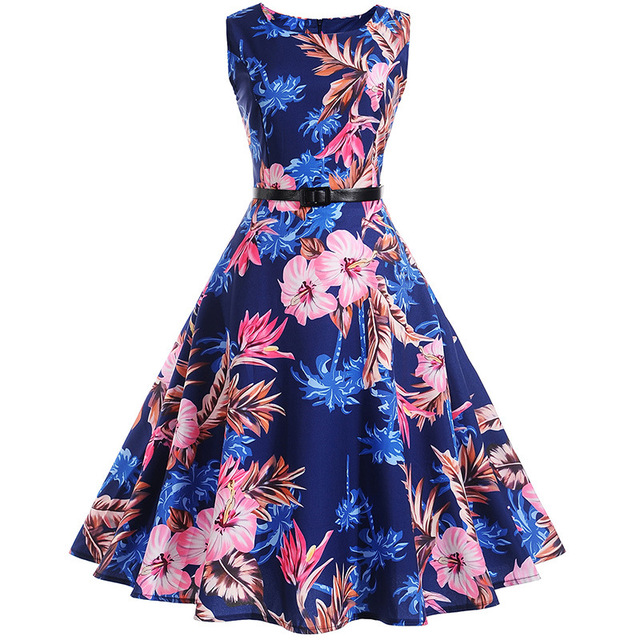 c7c9dac747 Floral Print Vintage Dress Women Retro PinUp Tutu Dresses Hepburn ...