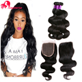 8A Brazilian Virgin Hair With Closure Mink Brazilian Hair 3Bundles With 4*4 Silk Base Closure With Bundles Human Hair Extensions