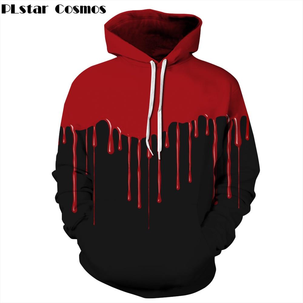 PLstar Cosmos New Halloween clothing 3d Hooded Sweatshirts Print Drops of blood Thin Hoody Tracksuits Men/Women Hoodies