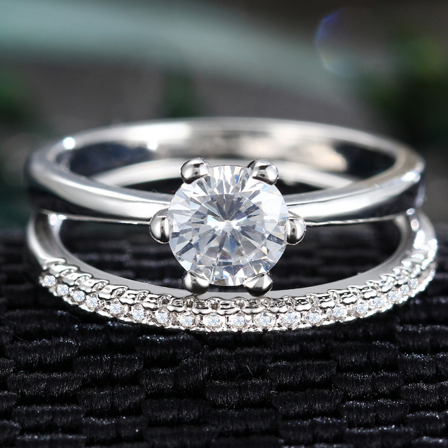17KM Fashion Engagement Woman Cubic Zirconia Ring For Women Female Double Rings Set Bijoux Ladies Lover Wedding Jewelry Party