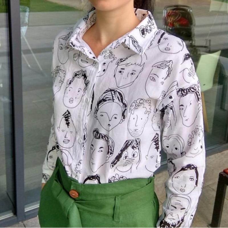 e64e2030c776d Streetwear Camisa Moda Cuello Manga Mujer Algodón Gou Nvyou Blusas Impreso  Blanco Graffiti De Blusa Larga 8FfEqOw