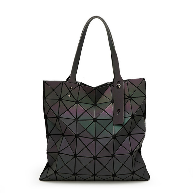 Fashion Famous Brands Women BaoBao Bag Geometry Sequins Mirror Plain Folding Bags Luminous Handbags PVC Casual Tote sg37