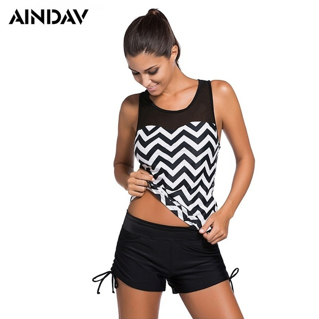5c739d3af8 Brands Tankini 2 piece Swimsuits Geometric Swimwear Women with Boxer Shorts Mesh  Sports Suits Beach Wear