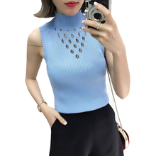Women Hollow Out Tank Top sleeveless Knitted T Shirt High Elasticity Summer White Black Vest Female Solid Slim Tee Shirt 2019 summer sleeveless women tank top high elasticity knitted ice silk top fashion ribbed knitwear sweater vest cozy female tee shirt