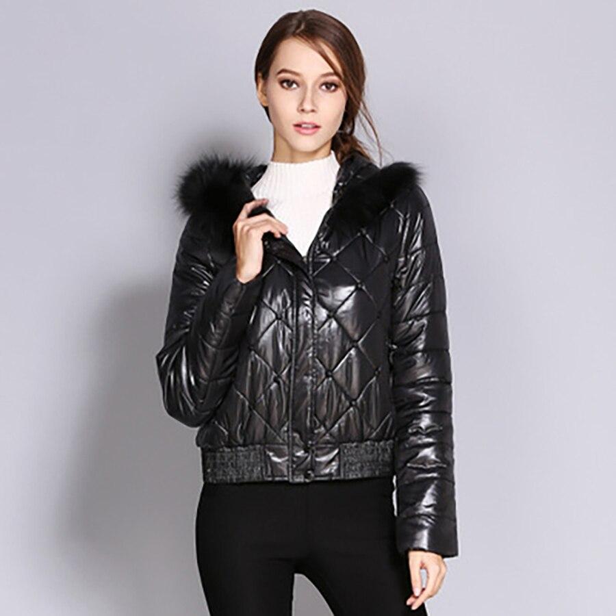 Короткое пальто Женская парка зимняя куртка мех черный пузырь пуховик с