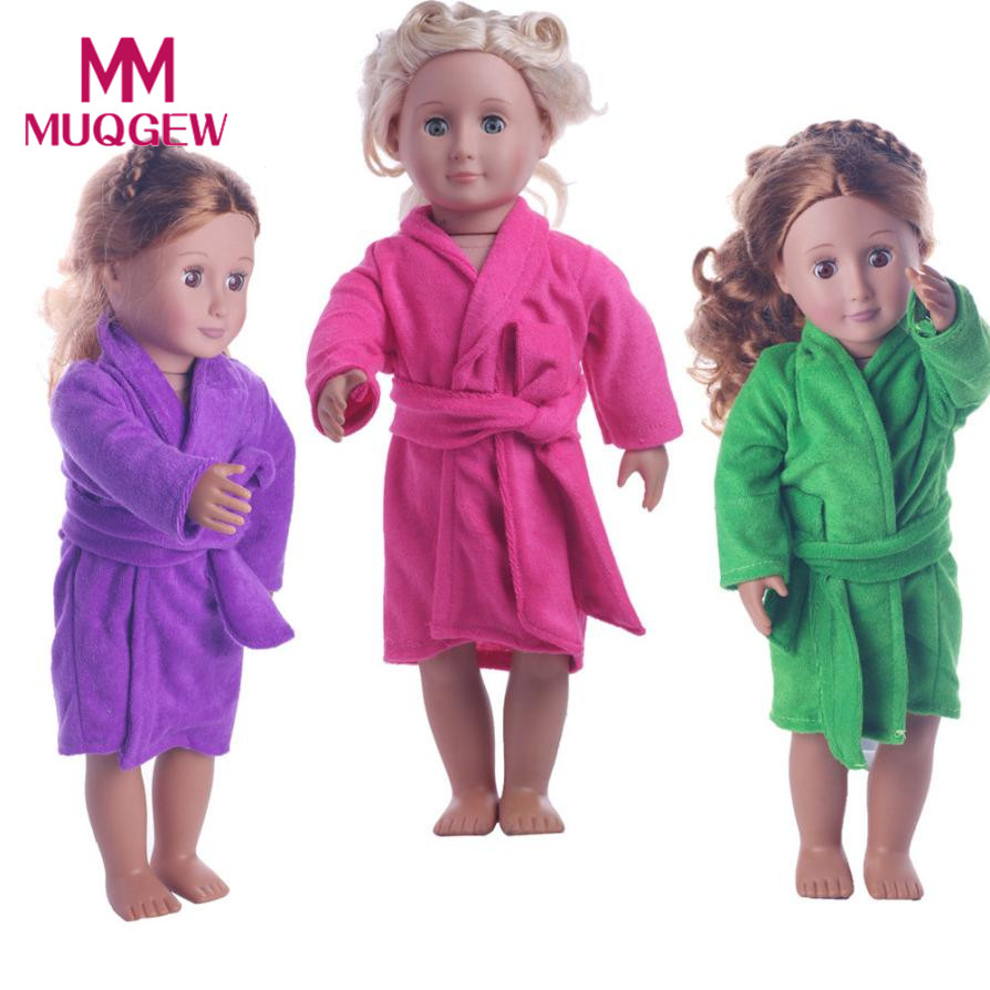 купить Drop shipping Cute Soft Robe Dolls Robe Fit For 18 inch Our Generation American Girl Doll baby born doll accessories sleepwear по цене 133.93 рублей