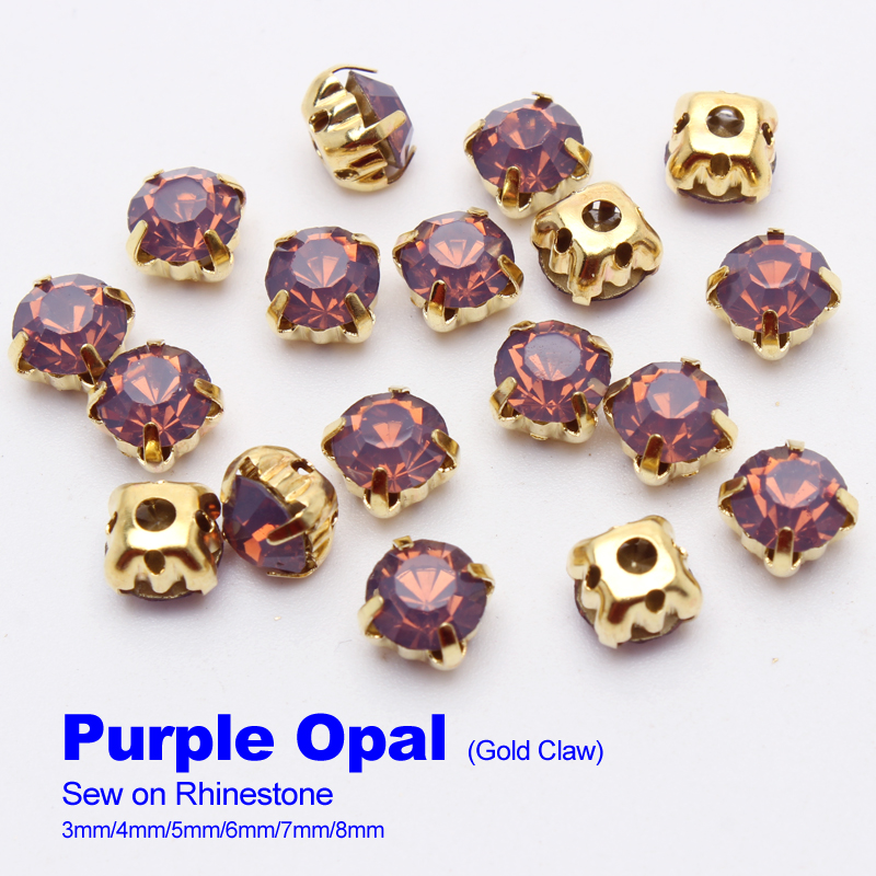 Sew on Rhinestones Purple Opal Gold claw 4mm/5mm/6mm/7mm/8mm use for DIY accessories free shipping