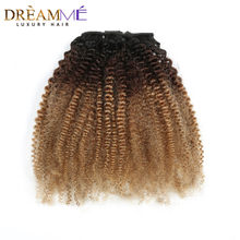 1b 4 27 Color 3B 3C afro Curly Ponytail For Women Remy Hair 1 Piece Clip In Ponytails Extension 100% Human Hair(China)