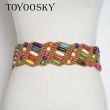 2018 New Arrival Ethnic Bohemia Fabric Knitted Women Colorful Belts Leisure for Dress Wild Belt TOYOOSKY