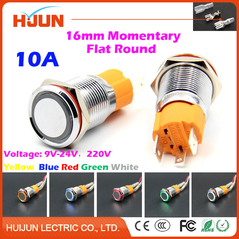 1pcs 16mm 10A Momentary Push Button Switch Waterproof Flat Round Stainless Steel Metal  LED Light Car Horn Auto Reset metal push button switch with light 16mm flat head self reset momentary 5v 12v 24v 220v push button waterproof led metal switch