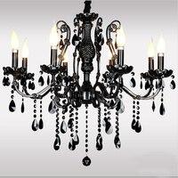 Европейский роскошный черный кристалл люстры Ретро лампа свечи, хрустальные люстры лампы чердак краткое мода гостиной свет