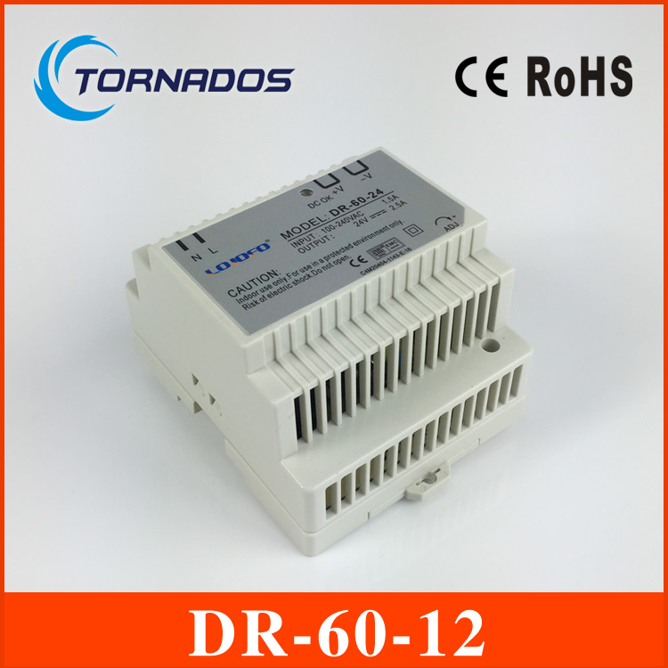 DR-60-12 Din Rail power supply 12V DC 4.5A Output Free Shipping ac dc dr 60 5v 60w 5vdc switching power supply din rail for led light free shipping