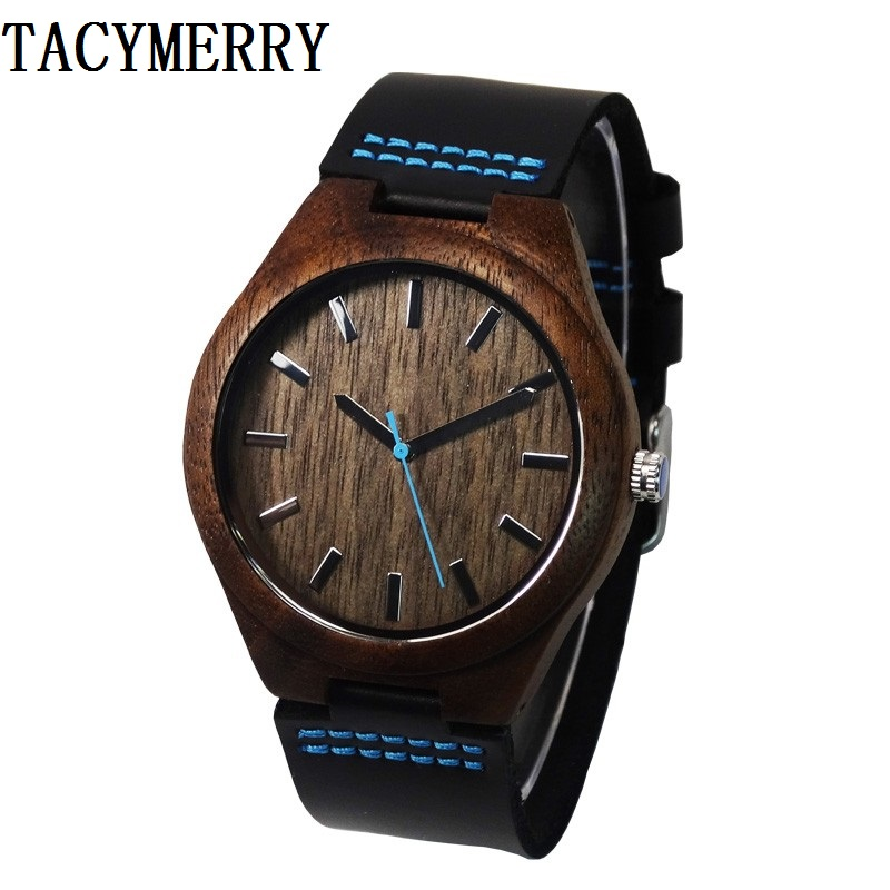 Fashion Walnut Wooden Watch For Male And Female Christmas Gifts With Black Genuine Leather Watchband Drop shipping hand made mens wooden bamboo quartz watch black genuine leather watchband simple unique modern wristwatch gift for male female