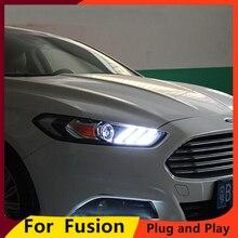 تصميم سيارة KOWELL للمصابيح الأمامية مونديو 2013 2014 2015 فيوجن LED المصباح الأصلي DRL ثنائية زينون عدسة عالية منخفضة الشعاع وقوف السيارات
