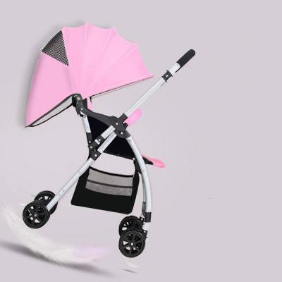 Cochecitos puede sentarse o acostarse ultra-portátil plegable Suspensión en las cuatro ruedas del cochecito de bebé bb niño