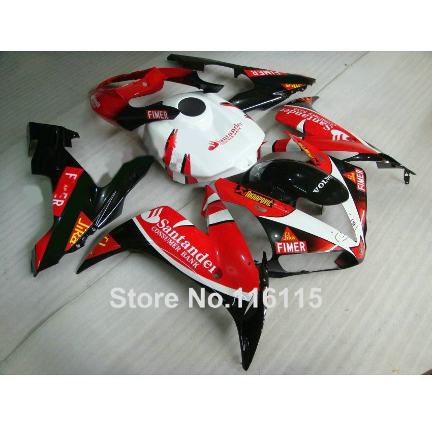 Injection molding ABS full fairing kit fit for YAMAHA YZF R1 2004 2005 2006 black red Santander fairings set YZF-R1 04-06 CY26 high quality abs fairing kit for yamaha r1 2002 2003 red flames in black fairings set injection molding yzf r1 02 03 yz32