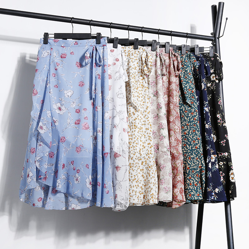 Floral Wrap Bohemian Long Beach Chiffon Skirt Waist Adjustable Sashes Bow Belt Side Split A-line Calf Ankle Skirts Boho
